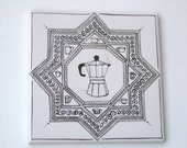 SALE 15 euros only today moka pot  hand painted ceramic tile