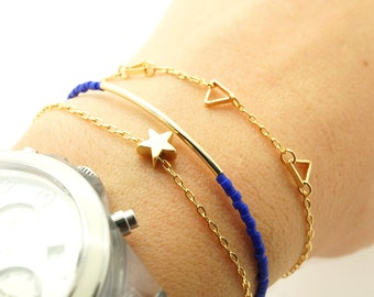 Gold Triangle Bracelet - Delicate Bunting Geometric Jewelry - Gift for Her Under 15