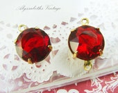 Vintage 11mm Ruby Red Glass Stones in Brass Settings Drop or Connector - 4