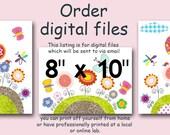 """DIGITAL file, Art for Children , Kids Wall Art, Baby Girl Room Decor, set of 3 8"""" x 10"""", DIGITAL image"""