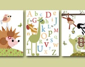 Art for Kid Room Kid Wall Decor Girl Baby Boy Nursery Baby Room Decor Nursery Alphabet Nursery Print set of 3 Elephant Zebra Monkey Giraffe/