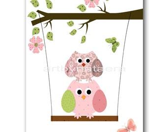 Baby Nursery Decor Art for Children Kids Wall Art Baby Girl Room baby Decor Baby Girl Nursery Print owls decoration rose
