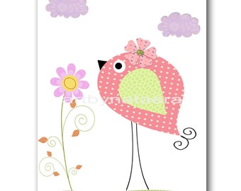 Bird Decor Nursery art print nursery decor baby Girl nursery Room print kids art kids room decor nursery wall art print bird rose pink