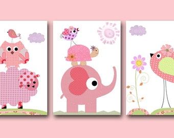 Art for Children Kids Wall Art Baby Girl Nursery Baby Room Decor Baby Nursery Decor Nursery Prints set of 3 Pink Elephant Tree Owl Bird