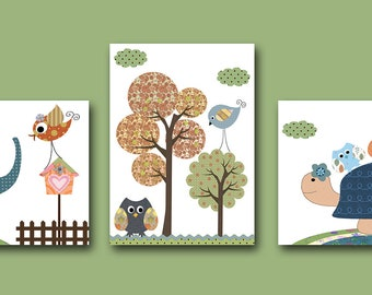 "Art for Children Kids Wall Art Baby Boy Nursery Room Decor Baby Boy Decor print set of 3 8"" x 10"" elephant turtle owls decoration blue green"