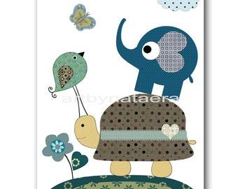 Baby Shower Gift Kids Art for Kids Room Kids Wall Art Baby Boy Nursery Room Decor Baby Nursery Print Turtlle Elephant Bird Blue Green