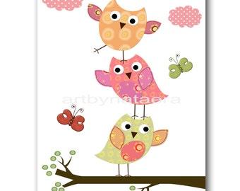 Owl Nursery Decor Art for Children Kids Wall Art Baby Girl Room Decor Baby Nursery Decor Baby Girl Nursery Print 8x10 OWL Rose Yellow Green