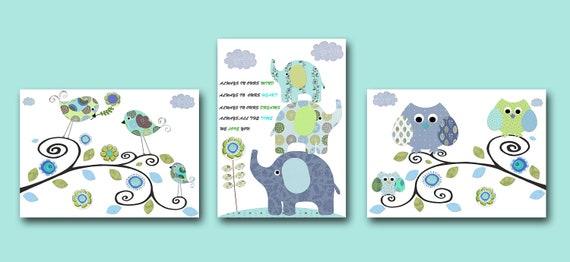 Baby Print Art for Children Kids Wall Art Baby Boy Room Decor Baby Nursery Decor Baby Boy Nursery Print set of 3 Elephant Owl Bird Blue