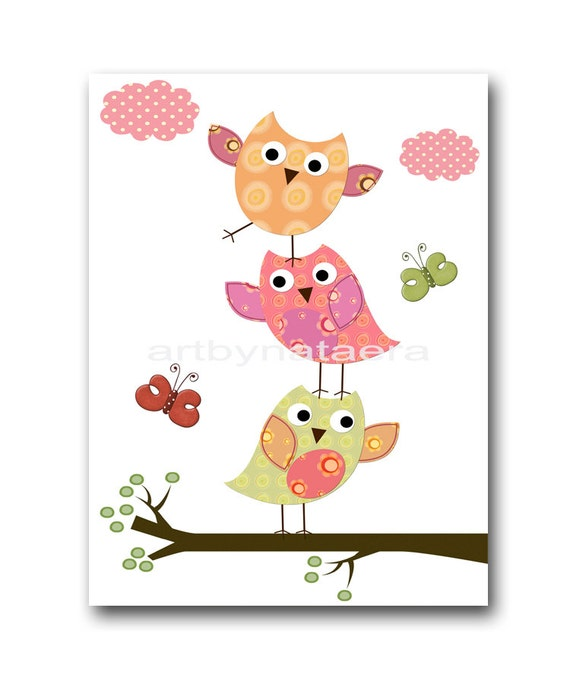 Owl nursery decor art for children kids wall art baby girl for Baby owl decoration