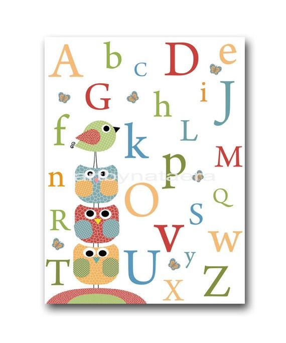 Nursery Art Decor Nursery Wall Art Kids Art Children Room Decor Nursery Art Print Nursery Alphabet Nursery Bird Owl Green Blue Red
