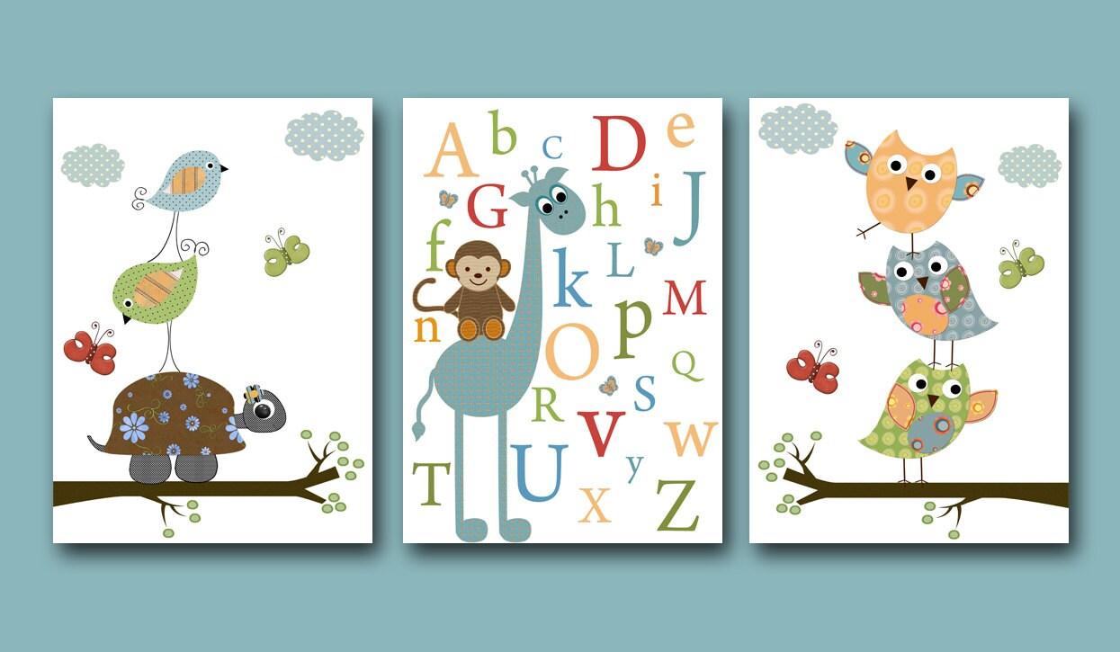 Art for children kid wall art baby boy room baby nursery decor - Wall decor for baby boy ...