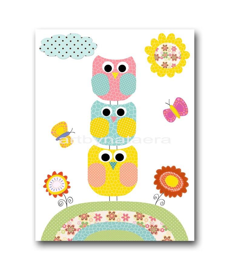 Baby Room Art Baby Girl Nursery Wall Art Children Artwork Owl