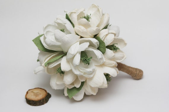 paper magnolias, wedding paper bouquet, wedding flowers, rustic wedding bouquet