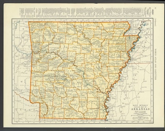 Vintage Map of the Arkansas From 1937 Original