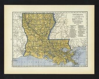 Vintage Map Louisiana Original 1938