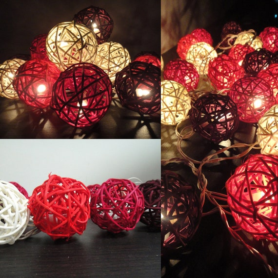 20 Mixed Sunset Tone Handmade Rattan Balls Fairy String Lights Party Patio Wedding Floor Table or Hanging Home Decor Living Bedroom Holiday