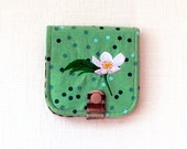 Slim Fabric Wallet with Canada Aemone Embroidery in Brown and Mint