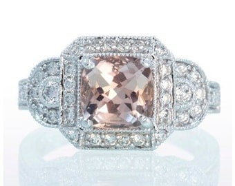 Platinum Cushion Cut Morganite Diamond Halo Vintage Filigree Carved Engagement Three Stone Anniversary Ring
