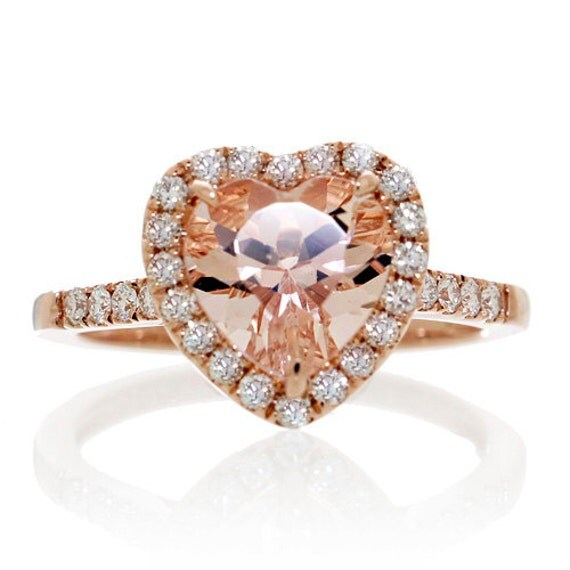 14K Rose Gold Morganite Ring Heart Shape Cut Dainty Morganite