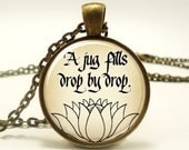 Buddhist Sayings Necklace, A Jug Fills Drop By Drop, Zen Buddha Quote Yoga Jewelery (0838B1IN)