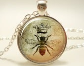 Queen Bee Necklace, Royal Crown Insect Art Pendant, Bee Jewelry (1088S1IN)