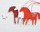 wooden horse - set of 3 - folk decorations gift tags ornaments decor wood red white horses vintage retro