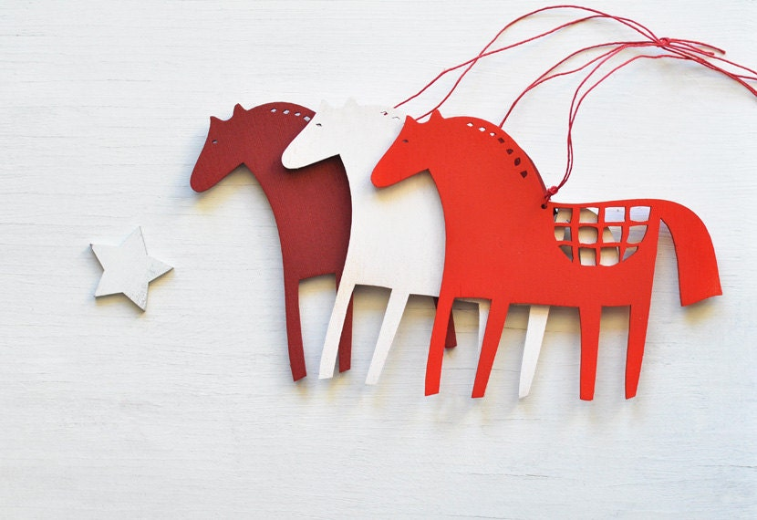 Christmas Decorations For Your Horse : Wooden horse christmas ornaments set of folk tree