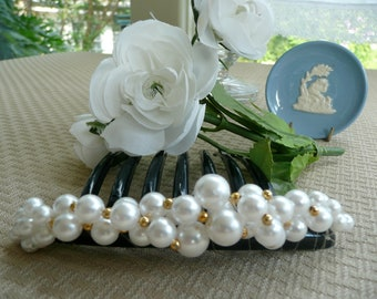 Vintage Hair Comb - Wedding Hair Accessory - Large Hair Comb - Jewelled Large Comb - Pearl Hair Comb - Wedding Accessory - Fascinator