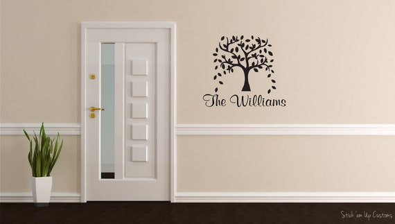 Beautiful Tree Wall Decal with Last Name Home Decor Entryway