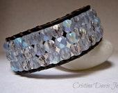 Beaded Leather Wrap Bracelet, Ice Princess, Pale blue crystal, bohemian, leather beaded cuff