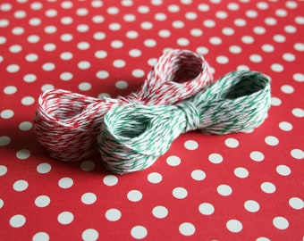 30 Yards Christmas Twine, Red Twine, Green Twine, Bakers Twine, Holiday Twine, Striped Twine