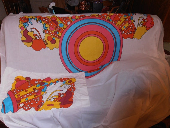 On Sale Vintage Peter Max Art Bed Sheets Double Full Size