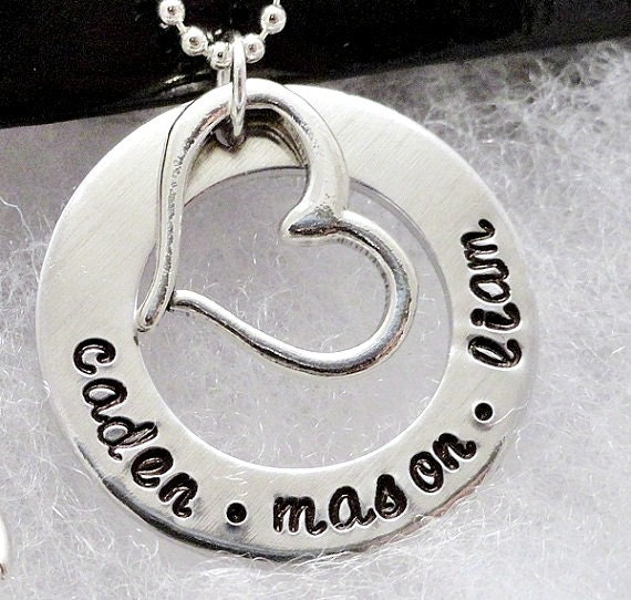Personalized Necklace - Hand Stamped - Silver - Heart Necklace
