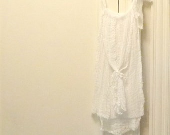 Tassel Top Tank White Bridal Artisan Cotton Gauze Spa Pool Cover Up Womens Small thru Plus Size