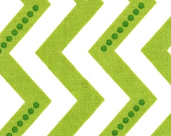 LAST 1/2 YARD -  Simply Color White Lime Green - Dotted Chevron Zig Zag - by V and Co for Moda Fabrics - 10804 18