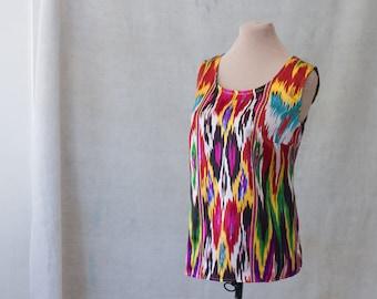 ikat silk top, made to order, tank, shell, tunic, sleeveless blouse, custom, tribal ethnic handwoven silk, Uzbekistan