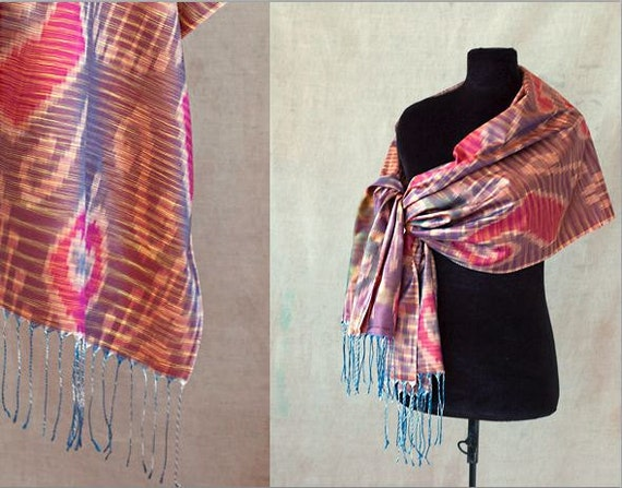 Silk Ikat, Scarf or Shawl, One of a Kind - SALE
