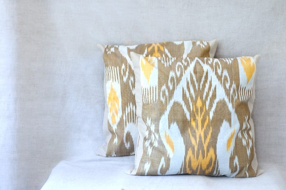 pillow cover ikat Uzbek ethnic 18X18 set of two autumn harvest yellow brown white gold rustic eastern oriental natural cushion throw pillow