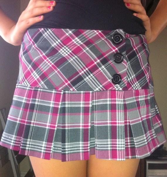 Vintage Skirt Punk/Rockabilly/ Psychobilly/ Retro/ Goth/ Vintage/ Black Pink Beige Gray Plaid School Girl Punk Short Mini Skirt Size Small