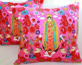 Decorative Pillows Slipcover 18x18 Cover in Festive Pink & Red