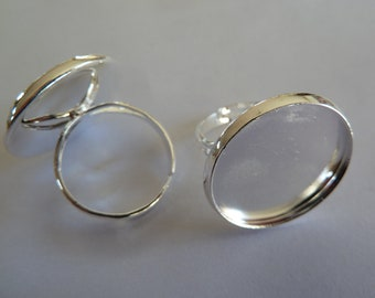 10 x Silver plated adjustable ring blanks for use with glass cabochons