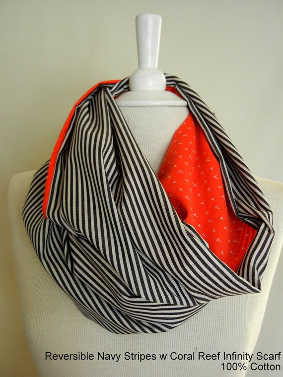 LIX PERLE: Fabric Cotton Unisex Reversible Circular tube, Navy Stripes w/ Coral Reef Infinity Scarf