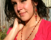 Czech Glass Red and Gold Long Necklace