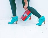 Lady with the dog- neon red  and mint green small fold over clutch bag
