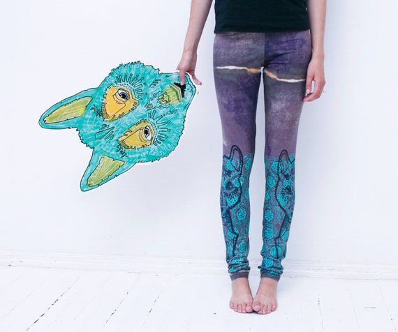Size S, XS  Wild things-   leggings with black tribal wolf print in mint flowers
