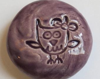 OWL Pocket Stone - Ceramic - Purple Art Glaze - Inspirational Art Piece