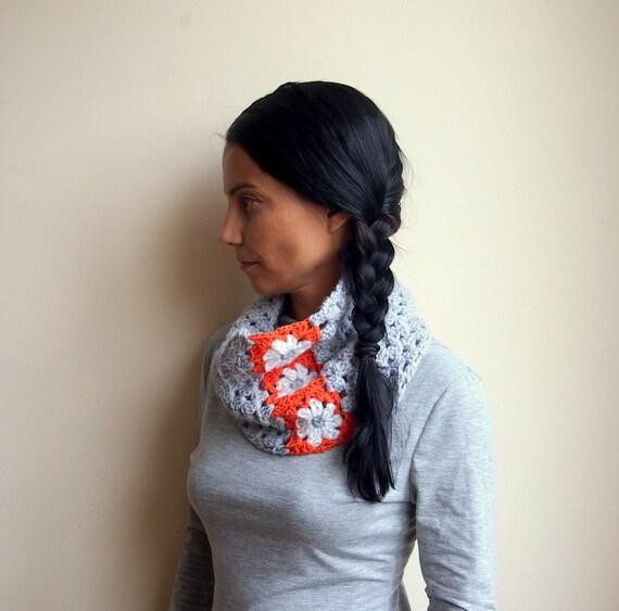 Crochet PATTERN women cowl neckwarmer granny square flower woman loop scarf circle scarf DIY photo tutorial Instant download