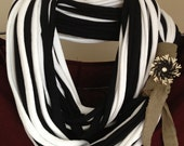 Reserved for Katie Garza:Black/white recycled t-shirt infinity scarf with beige band/vintage black/white/rhinestone vintage clip-on earring