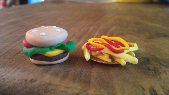 Miniature Fake Food Burger and Fries-Polymer Clay