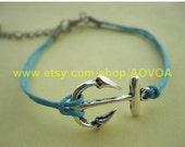 bracelets Retro silvery anchor December blue rope bracelet hunger games arrow